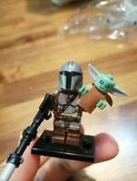 The Mandalorian + BABY YODA CUSTOM LEGO Minifigure STAR WARS Building Blocks