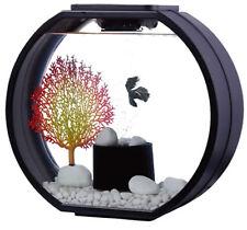 Fish R FUN Deco-O Tanque Tanque Redonda 20LTR Negro Diseño Moderno