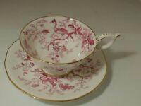 COALPORT Tea Cup and Saucer Cairo Bird and flowers England Fine Bone China 947