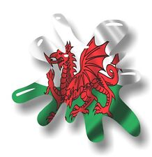 Retro Old School SPLAT & Welsh Dragon Wales CYMRU Flag vinyl car sticker decal