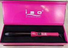 ISO Professional Twister Tourmaline Ceramic Smooth Curls Curling Iron Pink