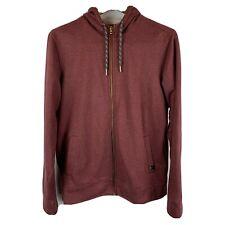 Prana Men's Large Full Zip Hoodie Sweatshirt Sweater Pockets Dark Red Flaw