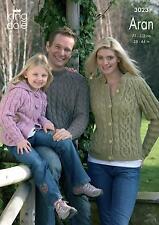 King Cole 3023 Knitting Pattern Sweater Cardigan & Hoodie in Merino Blend Aran