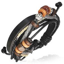 Bracelet homme Zense ZB0084  cuir et multi-couleurs motifs bois acier ajustable