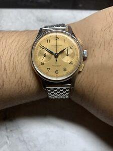 Vintage Swiss Mechanical Chronographe Suisse Salmon Landeron Manual Wind Watch