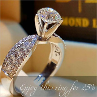 Luxury 925 Silver White Sapphire Ring Engagement Wedding Jewelry Rings For Women