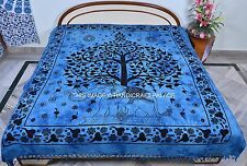 Indian Elephant Tree Of Life Turquoise Bedcover Queen Cotton Tapestry Bed Decor