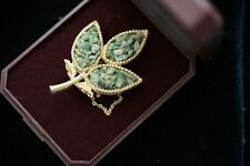 Vintage Jewellery Yellow Gold Jade Brooches Dress Antique Jewelry