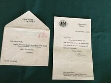 More details for ww2 letter from downing street dated 1939 regarding possible rationing of meat