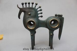 "15""Western Art Pure Bronze Carved abstract Lucky machine Horse Art sculpture"