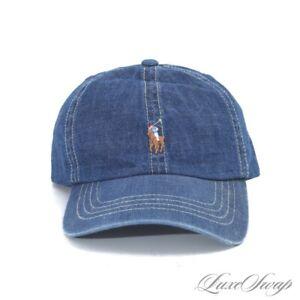 NWT Polo Ralph Lauren Indigo Blue Denim Multicolor Pony Baseball Hat Cap OSF NR