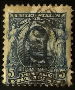 #304- 1903 5c Lincoln Stamp (Blue)