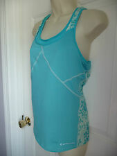Moving Comfort Sport Top Shirt L Bra sized 36AB-38A Blue Florals Great Support