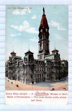 CITY HALL PHILADELPHIA - ADVERTISING - PURITAN SHIRTS - UNUSED - UNDIVIDED BACK