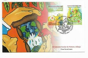 PERU 2009 ENVIRONMENT CARE NICE DECORATED FDC PAINTING CONTEST ORCHIDS FLOWERS