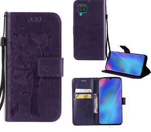 Galaxy A12 Wallet Case Embossed Cat & Tree