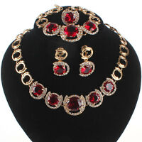 Fashion Women's Gold Plated Crystal Zircon Necklace Wedding Jewelry Set 3Colors
