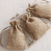 RUSTIC ECO JUTE BURLAP BAGS HESSIAN DRAWSTRING SACK WEDDING PARTY FAVOR GIFT UK