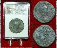 Ancient Roman Empire Coin GORDIAN III Apollo On Reverse LARGE Sestertius