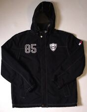 Vintage Tommy Hilfiger Black Hooded Zip Button Jacket TH 85 SZ M Spellout