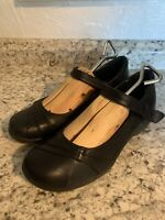 EARTH Origins Donna Black Leather Mary Jane Wedge Comfort Shoes Women's 10 M