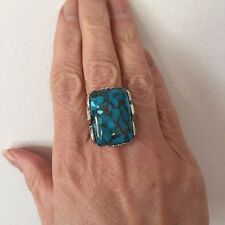 Genuine Kingman Blue Block Turquoise & Blue topaz  Silver Ring Size 7