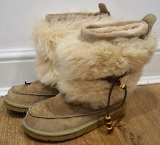 UGG AUSTRALIA Beige & Cream Beaded Tie Detail Branded Winter Ankle Boots UK5.5