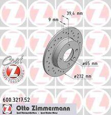 Disque de frein arriere ZIMMERMANN PERCE 600.3217.52 SEAT IBIZA III 6K1 1.9 SDI