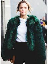 ZARA Bottle Green Short Faux Fur Jacket Coat Medium M
