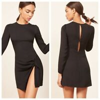 reformation black lbd nwt new long sleeve cara mini dress high slit 12 l large