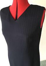 Country Road V Neck Sleeveless  Navy Pinstripe Dress Sz12 Made In Australia #69a