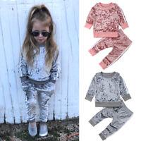 Christmas Toddler Kids Baby Girl Velvet Top Sweatshirt Pants Outfits Clothes USA