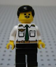 Lego CITY Minifig AIRLINE PILOT w/White Shirt Green Tie Black Hair & Black Legs