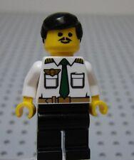 Lego CITY Minifig AIRLINE PILOT w/White Shirt Green Tie Black Hair & Black Legs
