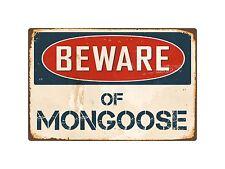 "Beware Of Mongoose 8"" x 12"" Vintage Aluminum Retro Metal Sign VS286"