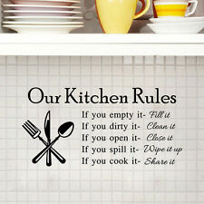 DIY Kitchen Rules Art Removable Vinyl Wall Sticker Decal Mural Home Room Decor