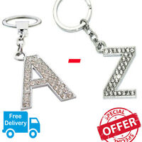 A - Z Initials Alphabet Keyring Silver Shiny Key Ring Key Chain CHOOSE LETTERS