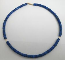 "Estate 14k Yellow Gold Lapis Lazuli 5.7mm Rondelle Bead 16.75"" Necklace"