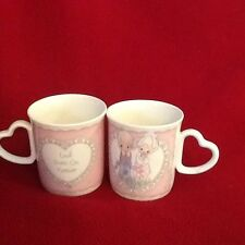"Precious Moments Collection 2 cups with Heart Handle ""Love Goes On Forever"""