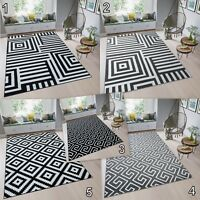 Modern Multi Coloured Rug Large Black White Grey High-Quality Carpet Soft Pile