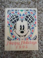 Wood Mounted Rubber Stamp Happu Holidays 1995 Mickey Mouse A1104F