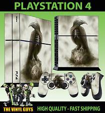 PS4 Piel Fantasma Cuervo Gótico Esqueleto Oscuro Pegatina + MANDO de pie