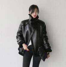 USM Black Women's Fur Leather Black Shearling Bomber Coat Parka Solid Jacket