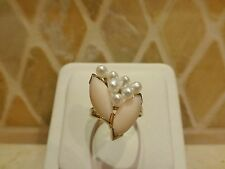 Vintage estate 14k yellow gold pale pink angel skin coral marquise pearl ring