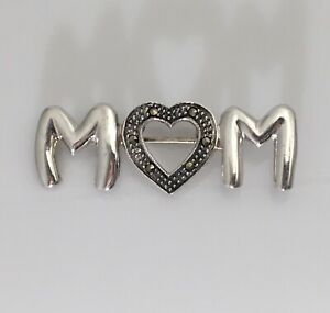 925 Sterling Silver MOM Marcasite Brooch Pin
