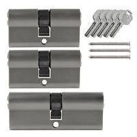 3x Tür Zylinder Schloss 60 / 80 mm gleichschliessend +5 Schlüssel Schliessanlage