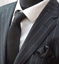 Men's Tie & Handkerchief Set Black with Black Spot LUC183