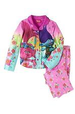Dreamworks Trolls Youth Girl's 2-Piece Pajama Set Button Up Size Medium 7/8 NWT