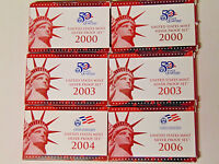 Lot of 6 U.S. Silver Proof Sets 2000 2003 2004 2006 90% Silver Coins