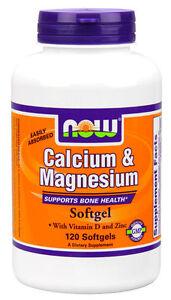 NOW Calcium & Magnesium 120 Softgels Vitamin D3 & Zinc FRESH 07/24EXP
